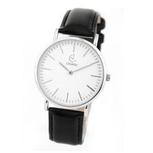 Elegantné čierne dámske hodinky so strieborným ciferníkom
