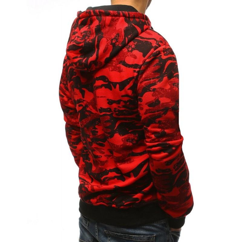 Štýlová pánska maskačová mikina s kapucňou v červenej farbe 6a3a3dd3b20