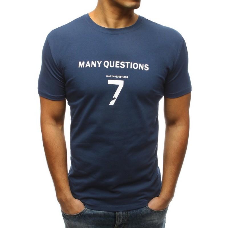 face6714b154 Lacné pánske tričko s potlačou v modrej farbe