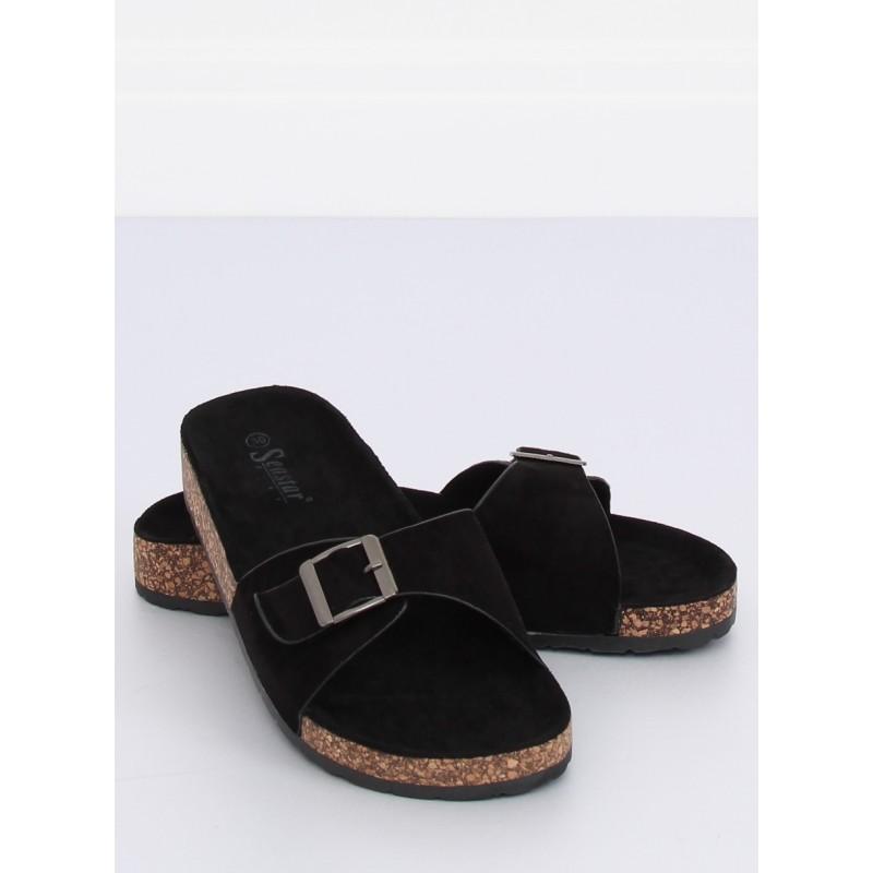 250d334d79946 Čierne dámske papuče s prackou na korkovej podrážke