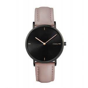 Moderné dámske hodinky s čiernym ciferníkom a ružovým remienkom