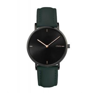 Športové dámske hodinky s čiernym ciferníkom a zeleným remienkom