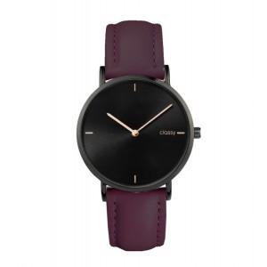 Elegantné dámske hodinky Classy čierne s fialovým remienkom