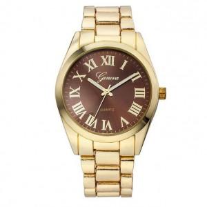 Elegantné dámske kovové zlaté hodinky s rímskymi čislicami