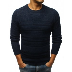 Moderný tmavo modrý pánsky sveter s okrúhlym výstrihom