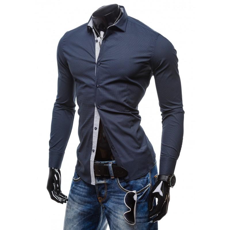 c15cdd7c3ec7 Predchádzajúci. Spoločenská pánska modrá košeľa bodkovaná ...