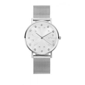 Luxusné strieborné dámske hodinky s ciferníkom rímskych číslic a zirkónmi