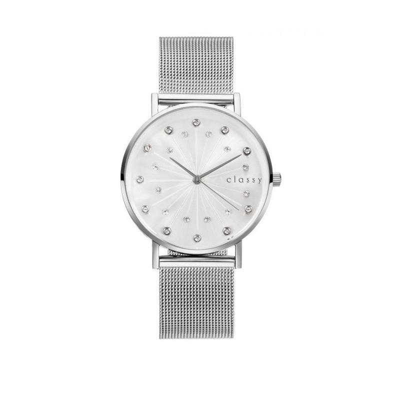 Luxusné strieborné dámske hodinky s ciferníkom rímskych číslic a zirkónmi 21938dc182