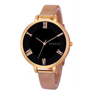 Elegantné dámske hodinky s čiernym ceferníkom v ružovo zlatej oceli