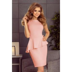 Krátke svetlo ružové dámske šaty asymetrického strihu