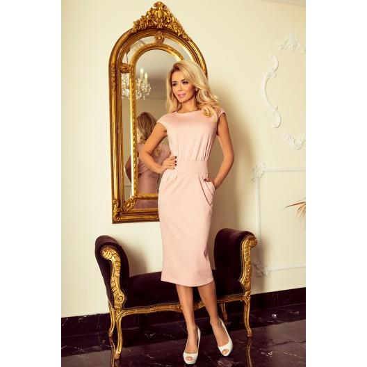 Midi šaty v jemnej ružovej farbe s bočnými vreckami