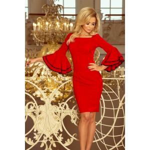 Červené krátke dámske šaty so španielskými volánmi na rukávoch