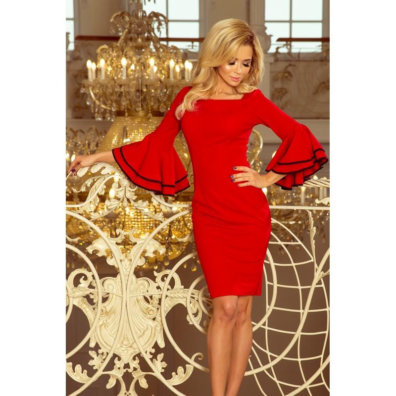 4f302ae228ad Červené krátke dámske šaty so španielskými volánmi na rukávoch