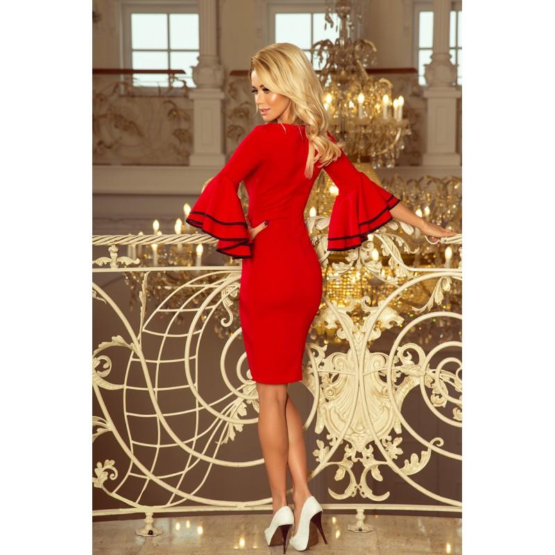 cbcfe7e4bf78 Červené krátke dámske šaty so španielskými volánmi na rukávoch