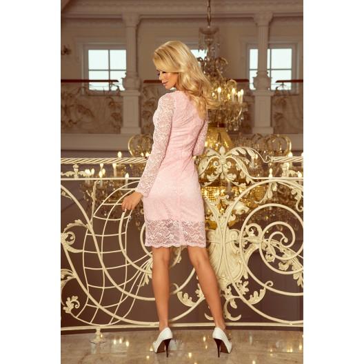 Pastelovo ružové dámske čipkované šaty a dlhým rukávom