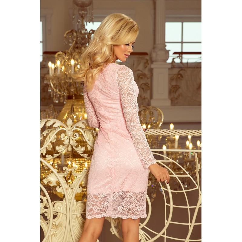 Pastelovo ružové dámske čipkované šaty a dlhým rukávom 79c86bc25af