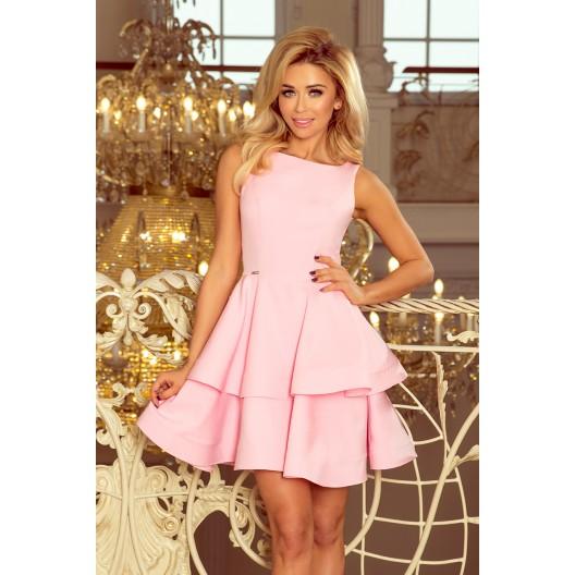 Pastelovo ružové elegantné šaty s volánovou sukňou