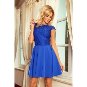 Modré krátke šaty dámsky s čipkovanou vrchnou časťou