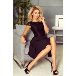 Spoločenské čierne krátke šaty s čipkovým horným dielom