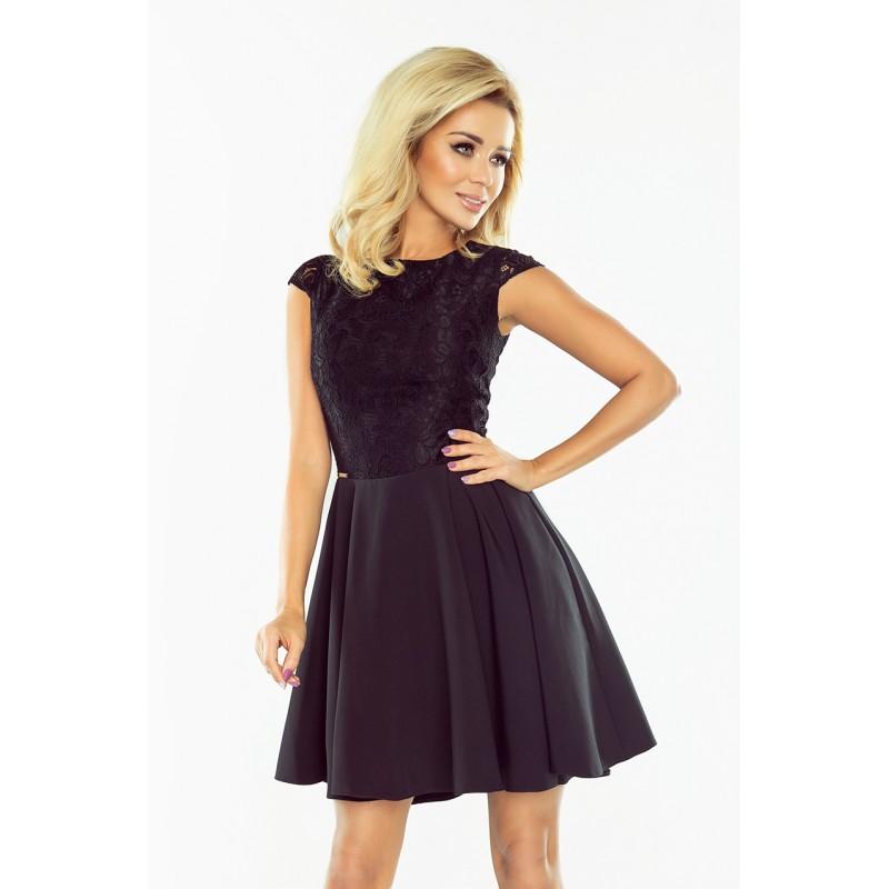 14f5aa903d27 Spoločenské čierne krátke šaty s čipkovým horným dielom