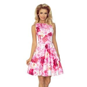 Elegantné dámske šaty s ružičkovým motívom bez rukávov