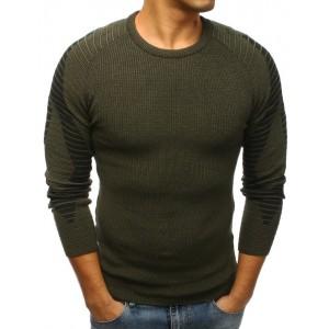 Tmavo zelený pánsky sveter s okrúhlym výstrihom