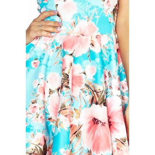 Dámske šaty na oslavu modrej farby s kvetinovým vzorom