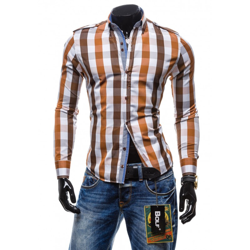 05212eea4ac9 Predchádzajúci. Kárované pánske košele hnedej farby s dlhým rukávom ...