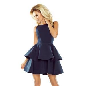 Elegantné dámske tmavo modré šaty s dvojitými volánmi