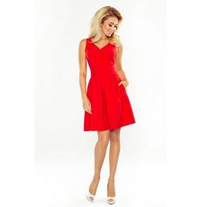 Červené krátke spoločenské šaty s vreckami