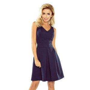 Tmavomodré dámské elegantné šaty krátke s vreckami