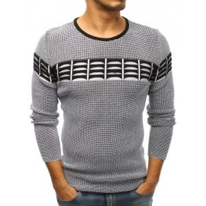 Čierny pánsky sveter cez hlavu s dekoráciou