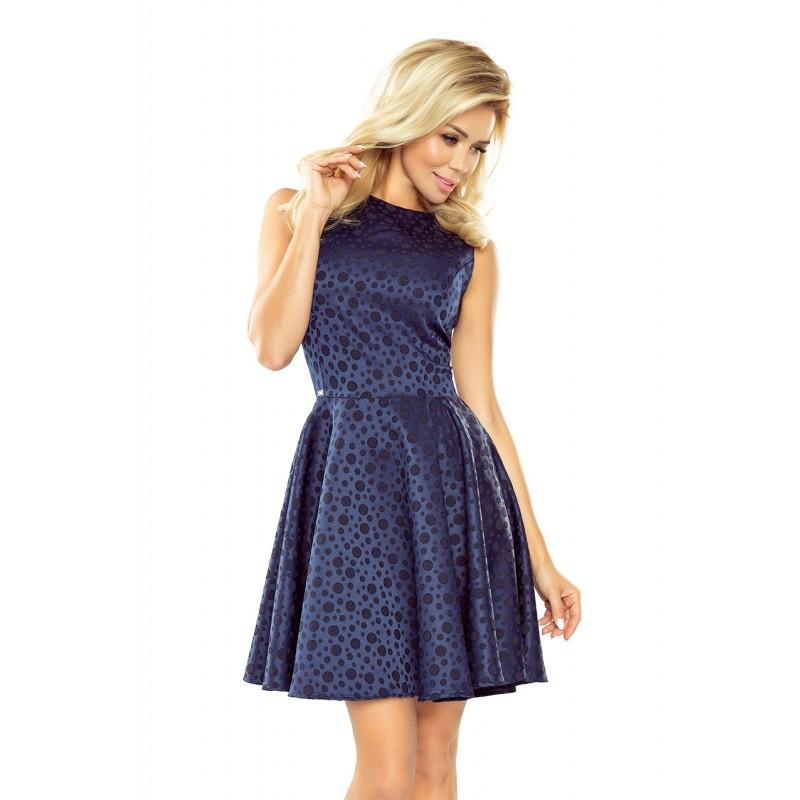 Tmavomodré dámske krátke šaty hrubé s kruhovým motívom 5fa290ef725