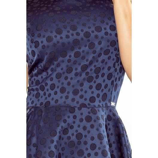Tmavomodré dámske krátke šaty hrubé s kruhovým motívom