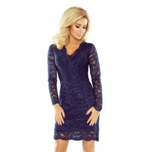 Elegantné čipkované šaty tmavomodrej farby s dlhými rukávmi