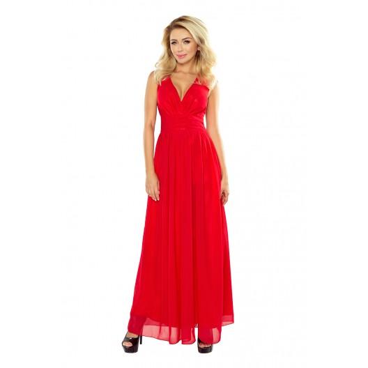 Šifónové dlhé červené šaty s rozparkom