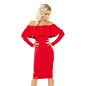 Štýlové dámske koktejlové šaty červenej farby s volánom