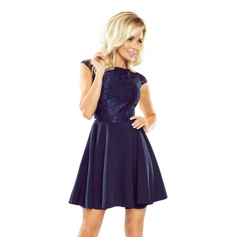 45675a9181 Spoločenské dámske tmavomodré šaty krátke s čipkovanou vrchnou časťou