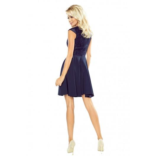 Spoločenské dámske tmavomodré šaty krátke s čipkovanou vrchnou časťou