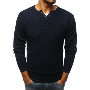 Elegantný tmavo modrý sveter s gombíkmi pre pánov