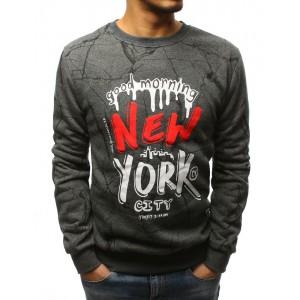 NEW YORK pánska sivá mikina bez kapucne