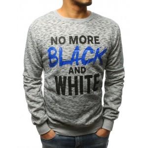 Pánska moderná sivá mikina NO MORE BLACK AND WHITE
