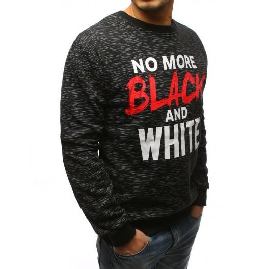 Moderná čierna pánska mikina NO MORE BLACK AND WHITE