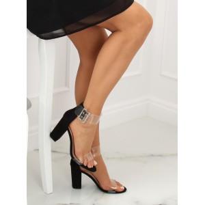 Luxusné dámske sandálky v čiernej farbe s priehľadným zapínaním