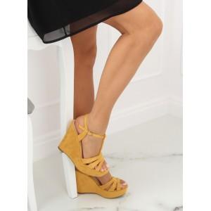 Dámske vysoké sandále na podpätku s platformou v žltej farbe
