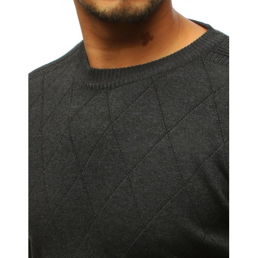 Tmavo sivý pánsky sveter s elegantným prešitím