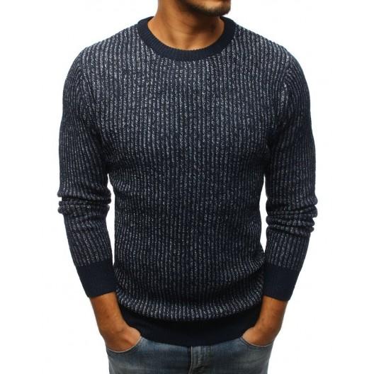 Tmavo modrý pánsky pletený sveter cez hlavu