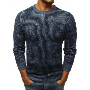 Modrý pletený pánsky sveter s okrúhlym výstrihom