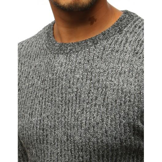 Sivý pánsky sveter s okrúhlym výstrihom