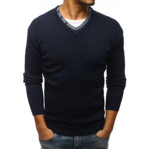 Moderný pánsky sveter s véčkovým výstrihom a gombíkmi